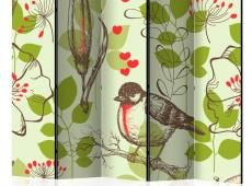 Paraván - Bird and lilies vintage pattern II [Room Dividers]